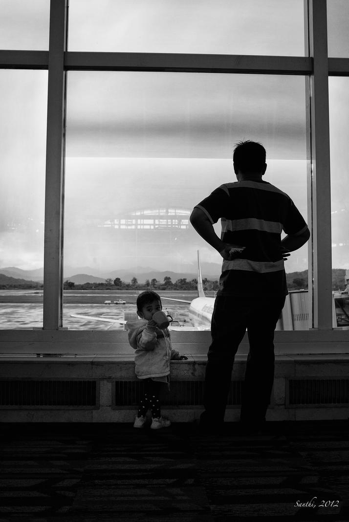 Father and Daughter, Sultan Hasanuddin Airport 2012