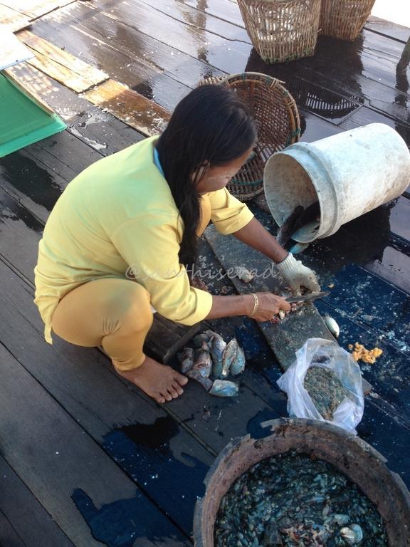 Pengrajin sedang menyiangi ikan untutk ikan asin (Copy)